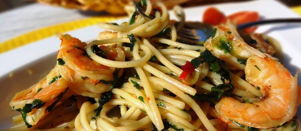Lust auf Italien, Genuss, Spaghetti mit Garnelen