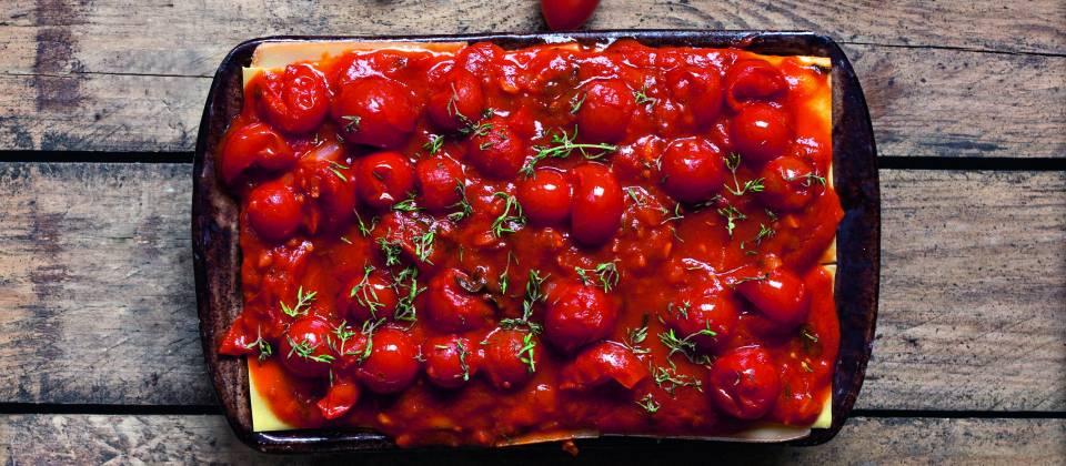 Lasagne-Kirschtomaten Taleggio Pute