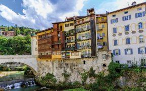 Rovereto, bridge and Adige River, Italy