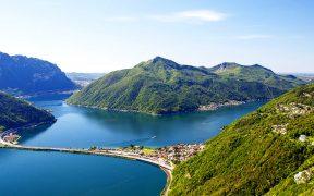 Lago di Lugano: Blick vom San Salvatore auf den Lago di Lugano, Carona und Melid